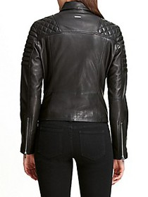 DKNY Quilted Leather Biker Jacket
