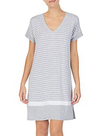 Donna Karan ​Striped Short-Sleeve Sleepshirt