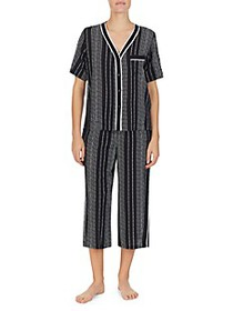 DKNY 2-Piece Striped Top & Capri Pajama Set