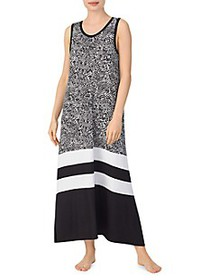 DKNY Colorblock & Print Long Nightgown