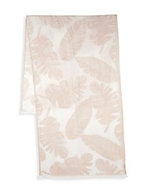 Vince Camuto Palm-Print Fringed Scarf