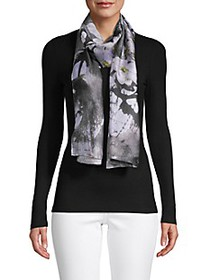 Vince Camuto Floral-Print Logo Scarf
