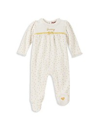 Juicy Couture Baby Girl's Logo Polka Dot Footie