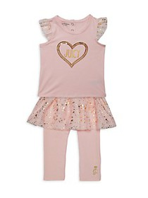 Juicy Couture Baby Girl's 2-Piece Heart Ruffled To