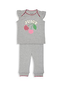 Juicy Couture Baby Girl's Cherry 2-Piece Top & Pan