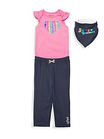 Juicy Couture Baby Girl's 3-Piece Bodysuit, Pants