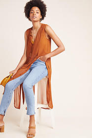 Anthropologie Meriwether Sheer Button-Front Tunic