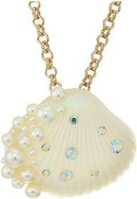 Betsey Johnson Pearl Shell Pendant Necklace