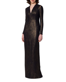 Akris Silk Lurex® Long-Sleeve V-Neck Gown Black