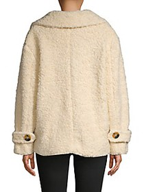Free People Notch Collar Faux Fur Peacoat