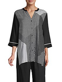 Donna Karan Mixed-Print Pajama Top