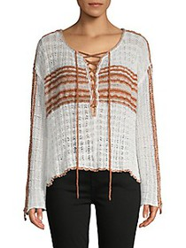 Free People ​Lace-Up Cotton-Blend Sweater