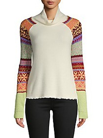Free People Prism Intarsia Cowl Turtleneck Sweater