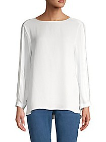 Donna Karan Pleated-Sleeve Blouse