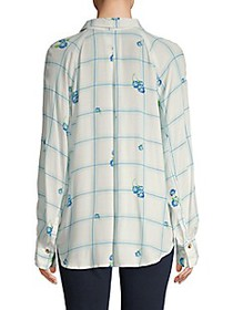Free People Windowpane Check Floral Shirt