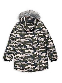 Big Chill Girl's Camo-Print Faux Fur-Trim & Faux S on sale at Saks Off 5th