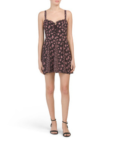 FREE PEOPLE Don't Dare Mixed Print Slip Mini Dress