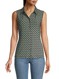 Tommy Hilfiger Printed Collared Sleeveless Top