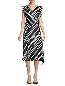 Donna Karan Stripe Flutter-Sleeve Dress