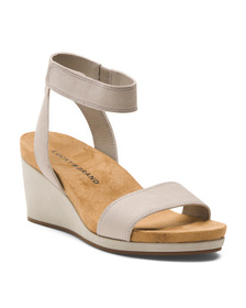 LUCKY BRAND Ankle Strap Leather Wedges
