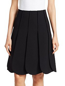 Valentino Scallop Pleated A-Line Skirt