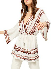 Free People Saffron Embroidered Top