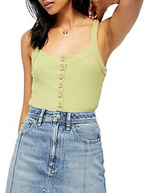 Free People Bridgette Rib-Knit Button Tank Top