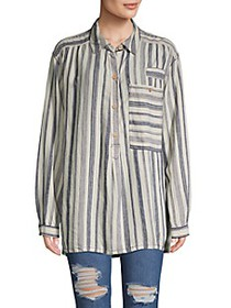 Free People Striped Linen-Blend Top