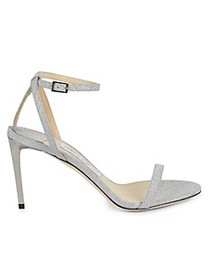 Jimmy Choo Glitter Leather Ankle-Strap Sandals