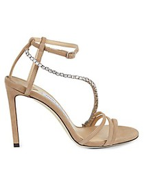 Jimmy Choo Jeweled Ankle-Strap Suede Stiletto Sand