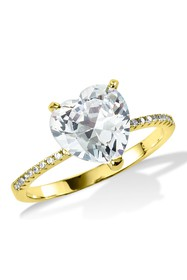 Savvy Cie 18K Gold Plated Heart Shaped CZ Ring