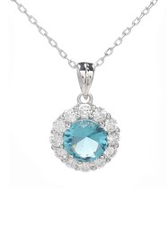 Savvy Cie Rhodium Plated CZ Drop Pendant Necklace