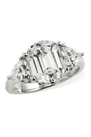Savvy Cie Platinum Plated Tycoon Cut 3 Stone Ring