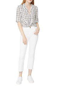 BCBGeneration Plaid Cropped Twist Front Top